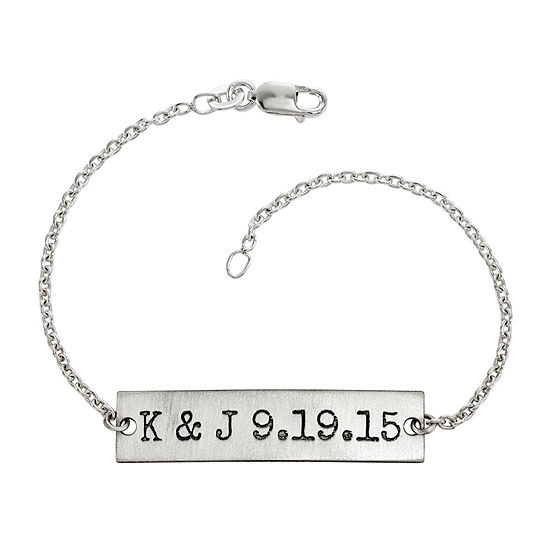 Personalized Couples Initials and Date Sterling Silver Bar Bracelet