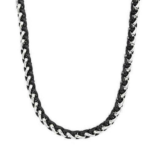 """Mens Two-Tone Stainless Steel 24"""" Wheat Chain Necklace"""