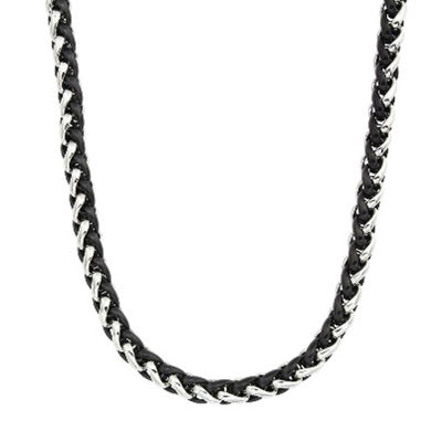 "Mens Two-Tone Stainless Steel 24"" Wheat Chain Necklace"