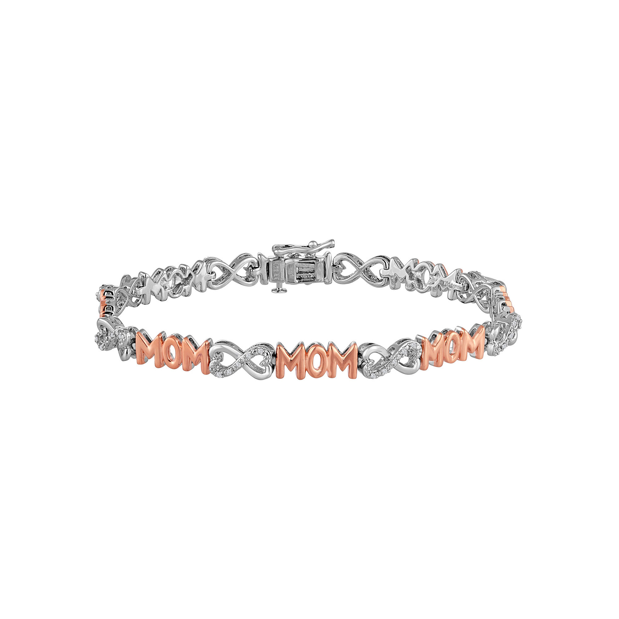 1/10 CT. T.W. Diamond Pure Silver Over Brass With 14K Rose Gold Accent Bracelet