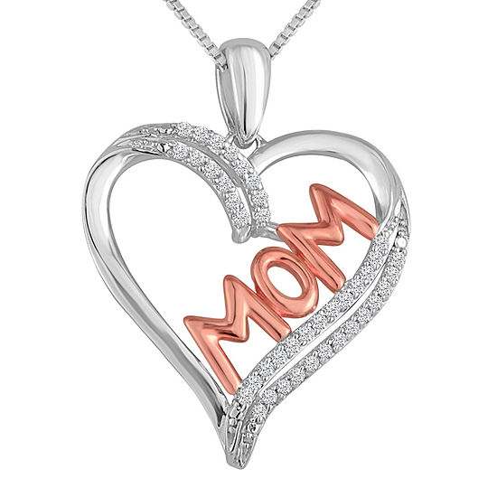 """1/10 CT. T.W. Diamond """"MOM"""" Heart Necklace in Sterling Silver With 14K Rose Gold Accent"""