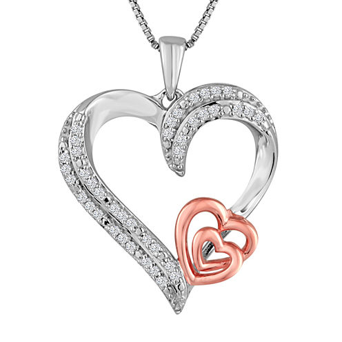 ForeverMine® 1/10 CT. T.W. Diamond Sterling Silver With 14K Rose Gold Accent Pendant