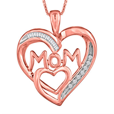 ForeverMine® 1/10 CT. T.W. Diamond 14K Rose Gold Over Silver Heart Pendant Necklace