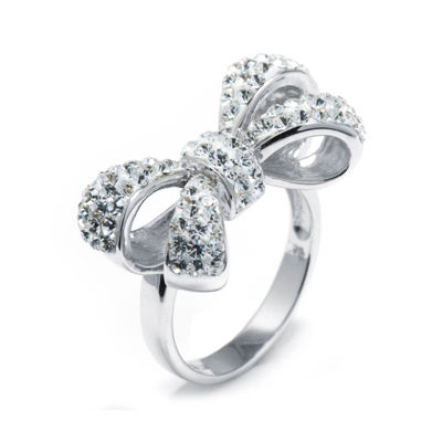 Crystal Sterling Silver Bow Ring