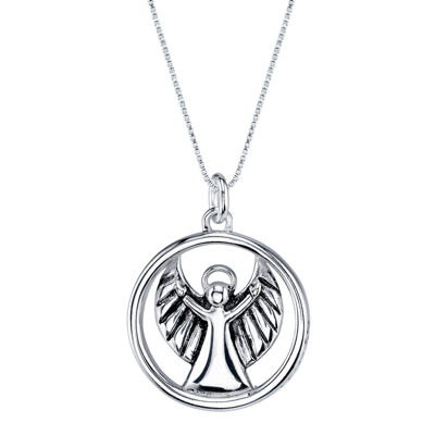 """Inspired Moments™ Sterling Silver """"Angel Watch Over Me"""" Pendant Necklace"""