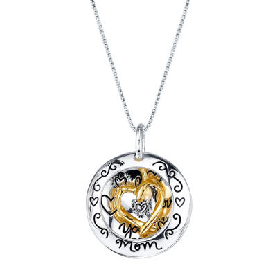 Inspired Moments™ 10K Gold Over Silver Two-Tone Heart Mom Pendant Necklace