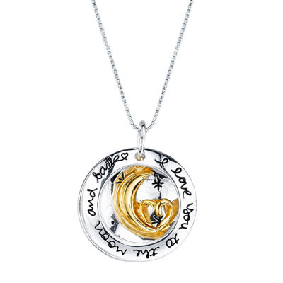 Inspired Moments™ 10K Gold Over Silver Two-Tone Moon Pendant Necklace