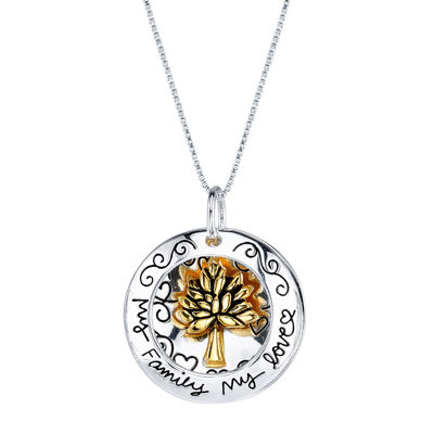 Inspired Moments™ Two-Tone 10K Gold Over Silver Family Tree Pendant Necklace