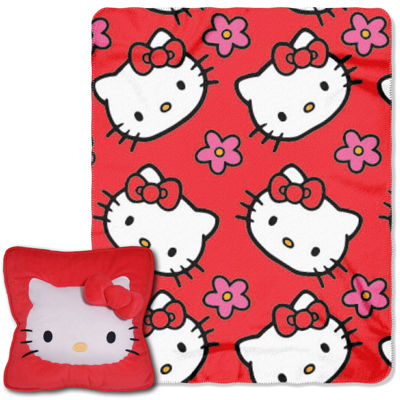 Hello Kitty Flowers Plush Pillow and Throw Set