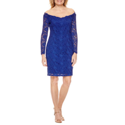 Blue Sage Long-Sleeve Off-The-Shoulder Sheath Dress - Petite