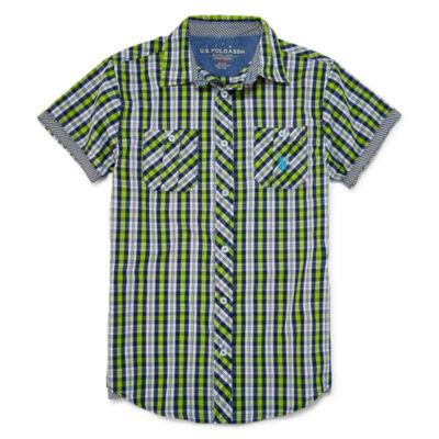 U.S. Polo Assn. Short Sleeve Button-Front Shirt Boys