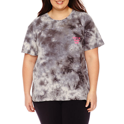"Flirtitude ""Don't be shady"" Graphic T-Shirt- Juniors Plus"