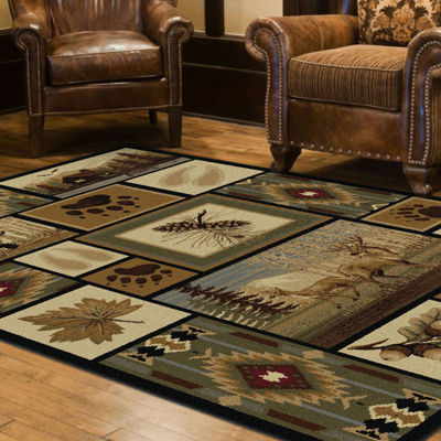 Tayse Nature Northern Wildlife Rectangular Rug