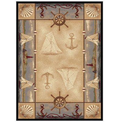 Tayse Nature Seashore Nautical Rectangular Rug