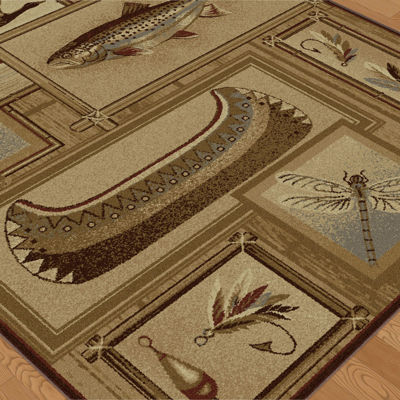 Tayse Nature Trout Fishing Runner Rug