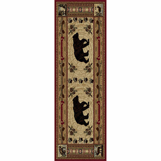 Tayse Nature Black Bear Runner Rug