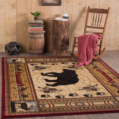 Tayse Nature Black Bear Rectangular Rug
