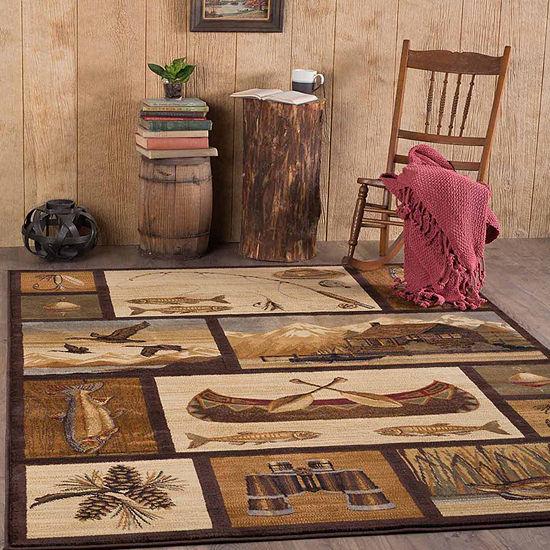 Tayse Nature Cabin Getaway Rectangular Rug