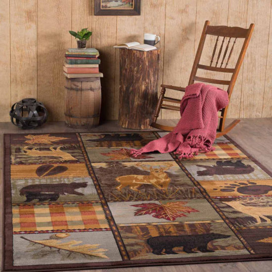 Tayse Nature Colorblock Wildlife Rectangular Rug