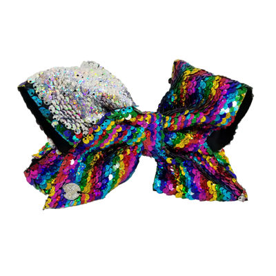 Jojo Siwa Signature Hair Bow Reversible Sequins Rainbow Big Cheer Silver Red