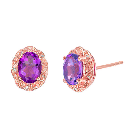 Diamond Accent Genuine Purple Amethyst 14K Rose Gold Over Silver 11mm Stud Earrings