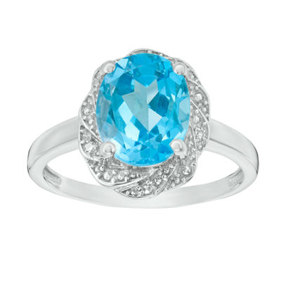 Womens Diamond Accent Genuine Blue Topaz Sterling Silver Cocktail Ring