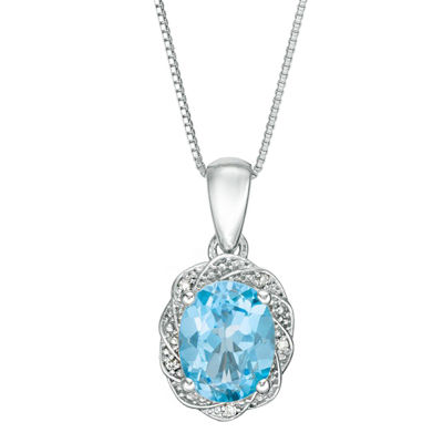 Womens Diamond Accent Genuine Blue Topaz Sterling Silver Pendant Necklace