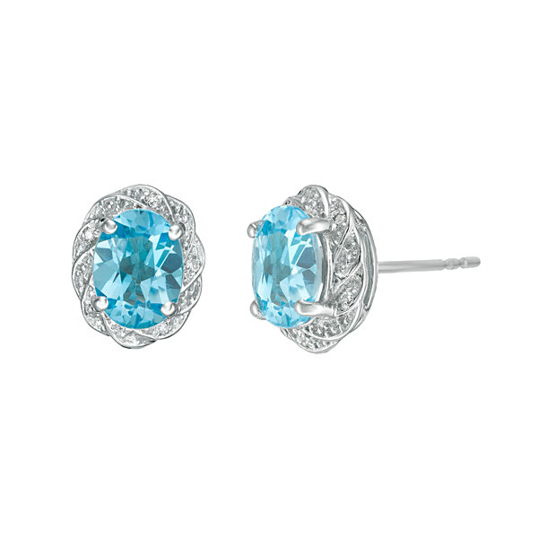 Diamond Accent Oval Blue Blue Topaz Sterling Silver Stud Earrings