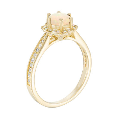 Womens White Opal Gold Over Silver Cocktail Ring
