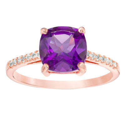 Womens Purple Amethyst Cocktail Ring