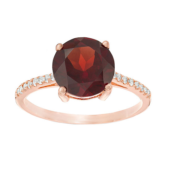Womens Genuine Red Garnet 14K Rose Gold Over Silver Cocktail Ring