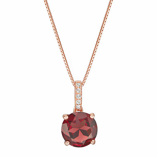Womens Genuine Red Garnet 14K Rose Gold Over Silver Pendant Necklace
