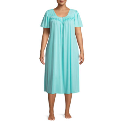 Collette by Miss Elaine Tricot Short Sleeve Nightgown-Plus