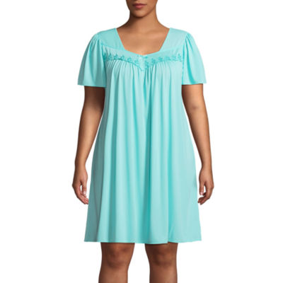 Collette by Miss Elaine Tricot Short Sleeve Round Neck Nightgown-Plus