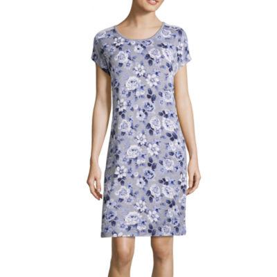 Love Dreams Knit Short Sleeve Round Neck Floral Nightshirt