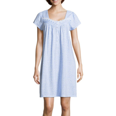 Adonna Jersey Short Sleeve Sweetheart Neck Floral Nightgown