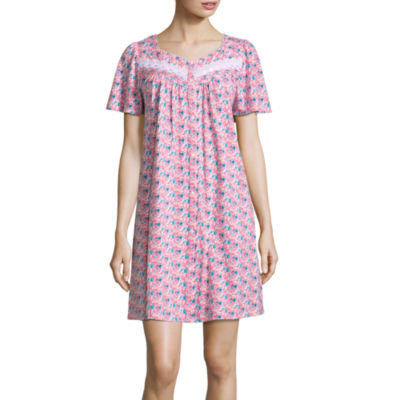Adonna Jersey Short Sleeve Button Front Nightgown
