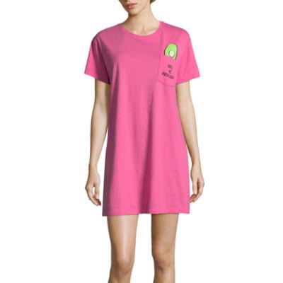 Peace Love & Dreams  Short Sleeve Round Neck Nightshirt-Juniors