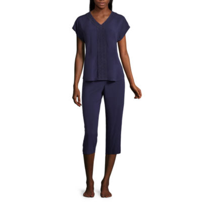Liz Claiborne Woven Lace Trim Capri Pajama Set
