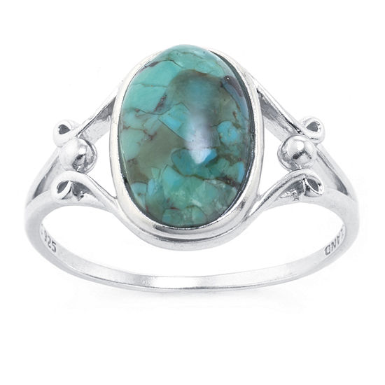 Silver Treasures Blue Turquoise Sterling Silver Oval Cocktail Ring