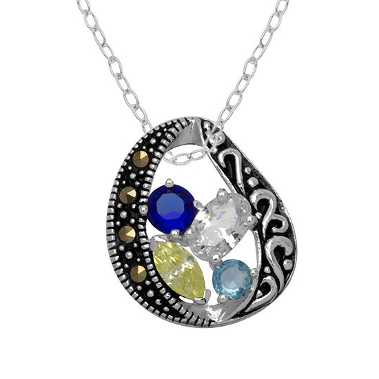 Sparkle Allure Made With Swarovski Marcasite Womens Genuine Multi Color Pure Silver Over Brass Pendant Necklace