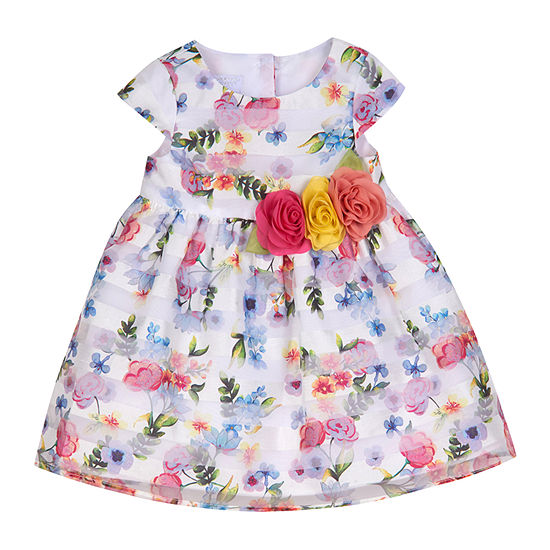 Marmellata Not Applicable Baby Girls Short Sleeve Cap Sleeve Floral A-Line Dress