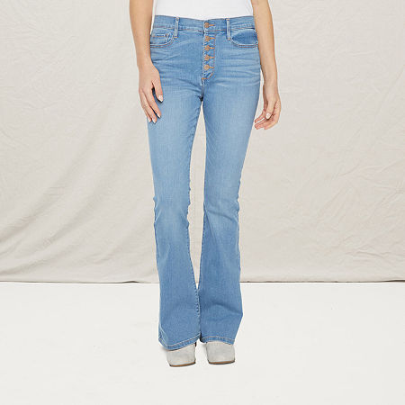 a.n.a Womens High Rise Button Fly Flare Jean, 16 , Blue