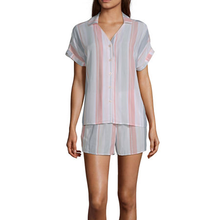 Ambrielle Womens Shorts Pajama Set 2-pc. Short Sleeve, Small , Pink