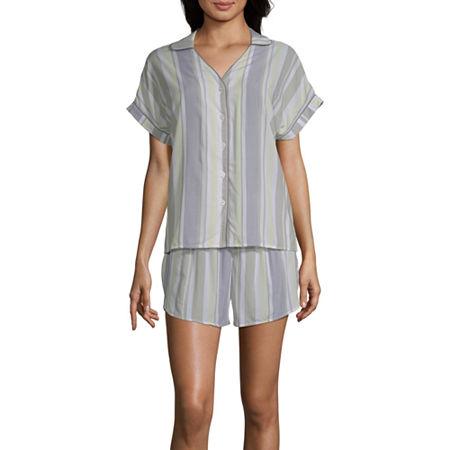 Ambrielle Womens Shorts Pajama Set 2-pc. Short Sleeve, Xx-large , Green