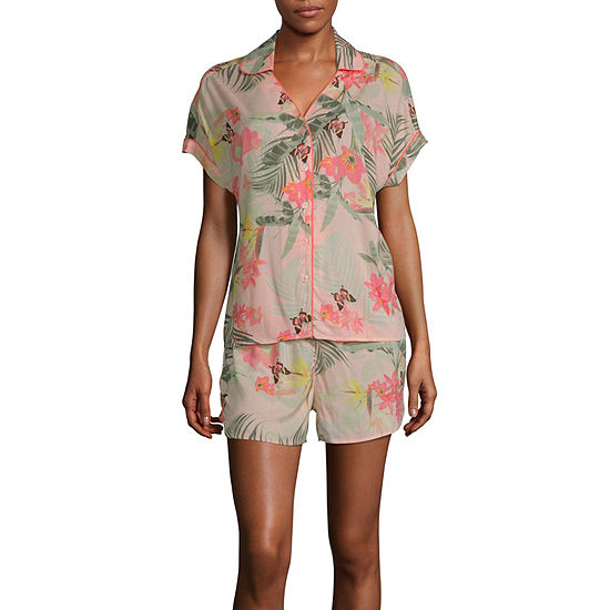 Ambrielle Womens Shorts Pajama Set 2-pc. Short Sleeve