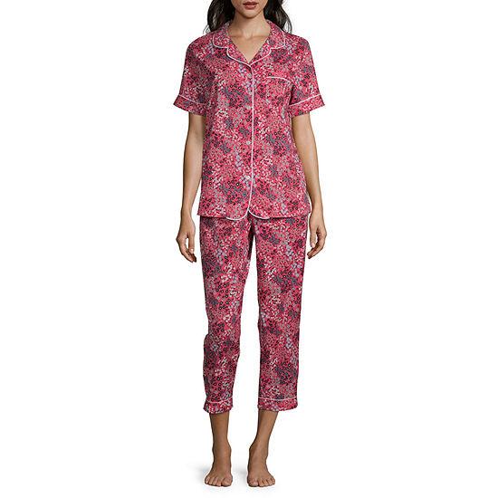 Liz Claiborne Womens 2-pc. Capri Pajama Set Short Sleeve