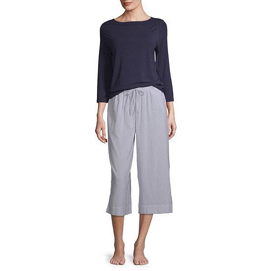 Liz Claiborne Womens Pant Pajama Set 2-pc. 3/4 Sleeve