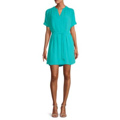 Worthington Dress Short Sleeve Shirt Dress