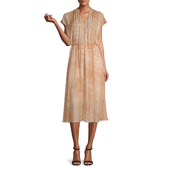 Worthington Short Sleeve Animal Fit & Flare Dress